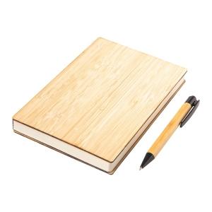 Zestaw bambusowy z notesem Lorca, brązowy